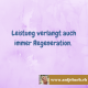 Inspiriert, Antje Bach, Leistung, Regeneration