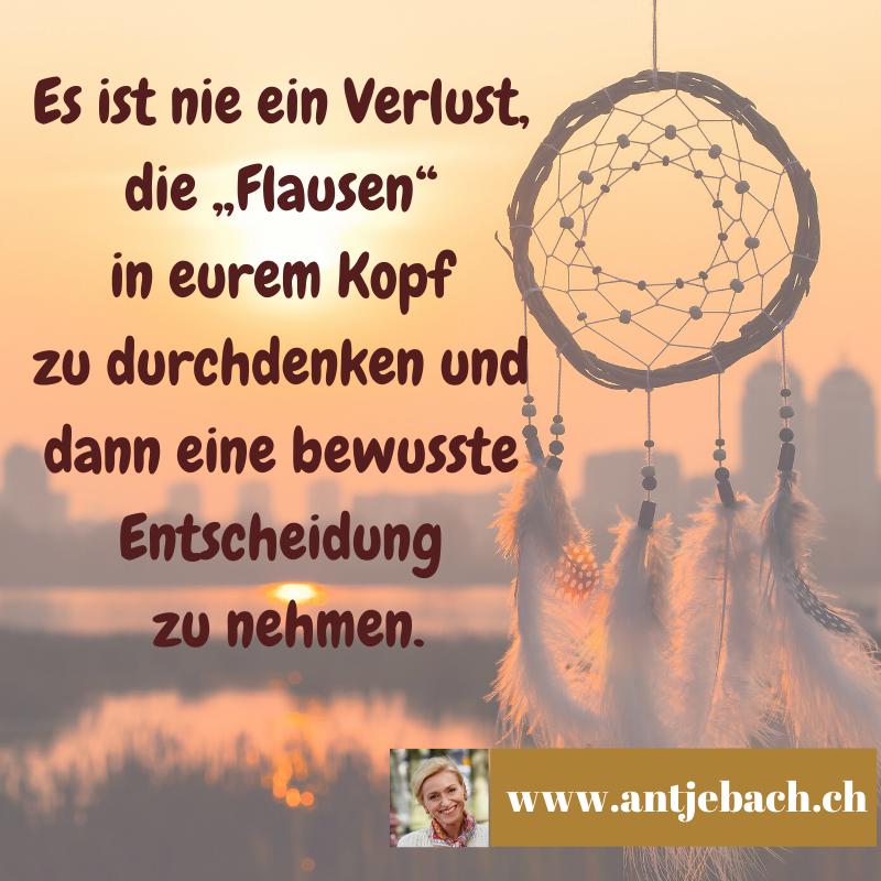 Zitatkarte, Antje Bach, Inspiriert, Flausen, Ideen, entscheidung